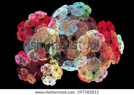 abstract floral fractal  pattern isolated on black background - stock photo