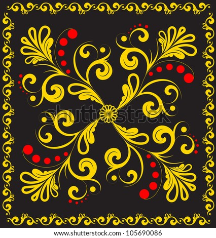 Abstract floral ornament with a decorative frame on black. - stock photo