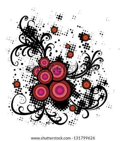 Abstract floral ornament with colorful circles and halftone pattern on white background. - stock photo