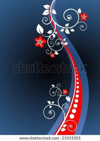 Abstract floral pattern on a dark blue background.
