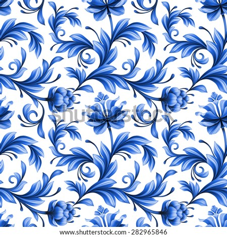 abstract floral seamless background, pattern with folk art flowers, blue white gzhel ornament