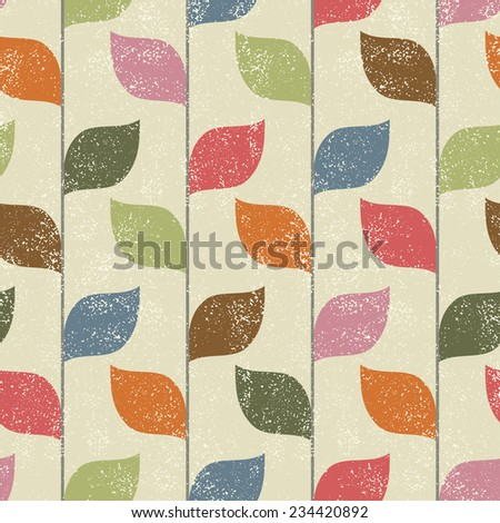 Abstract floral seamless pattern with colored leaves. Raster version