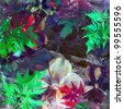 Abstract floral watercolor - stock photo