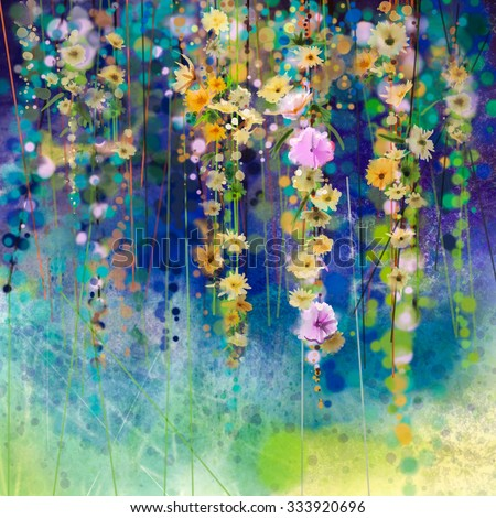 Abstract floral watercolor painting. Hand painted White, Yellow and Red flowers in soft color on blue green color background. Ivy flowers in tree park. Spring flower seasonal nature background - stock photo