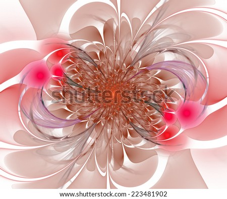 Abstract flower bloom in warm colors on white background - stock photo