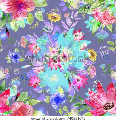 abstract flower bouquet seamless pattern v