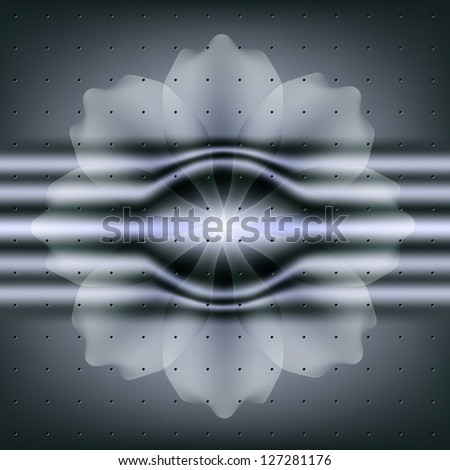 Abstract flower card with metallic. Raster copy of vector image - stock photo