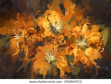 abstract flower digital painting - stock photo
