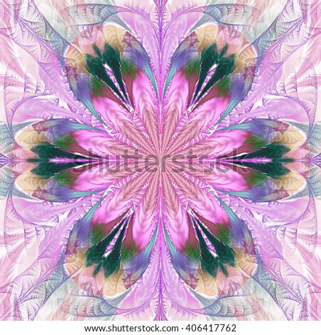 Abstract flower mandala on black background. Symmetrical pattern in green, pink, blue and beige colors. Fantasy fractal design for postcards, wallpapers or clothes. - stock photo