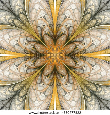 Abstract flower mandala on white background. Symmetrical pattern in yellow, orange, and dark green colors. Fantasy fractal design for postcards, wallpapers or clothes. - stock photo