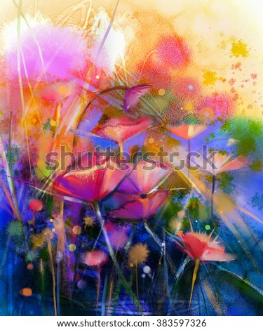 Abstract flower watercolor painting. Hand paint White, Yellow, Pink and Red color of daisy- gerbera flowers in soft color on yellow and green blue color background.Spring flower seasonal nature - stock photo