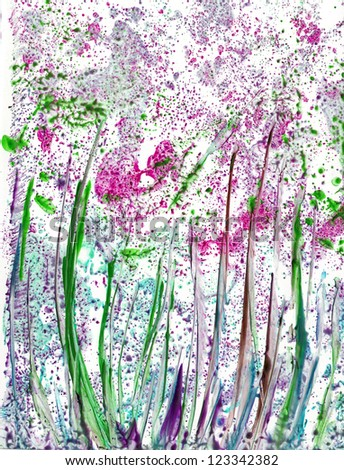 Abstract Flowers, Abstract painted canvas as multicolor background - stock photo