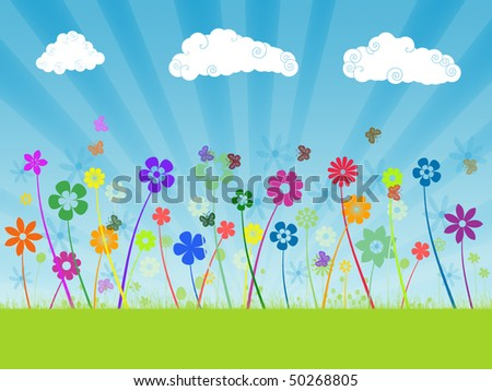 Abstract flowers field