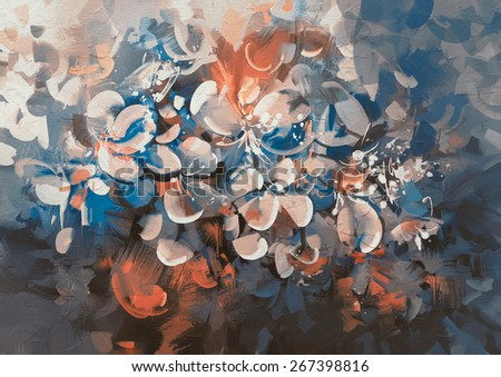 abstract flowers painting with vintage style color - stock photo
