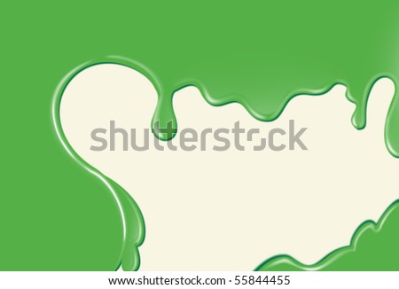 Abstract flowing drops background green
