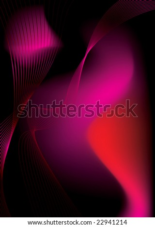 Abstract fluid background with a flowing design in red and black - stock photo