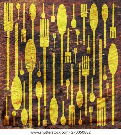 abstract food utensil design on wood grain texture - stock photo