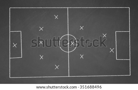 Abstract football field drawn with chalk on blackboard. 5-3-2 scheme - stock photo