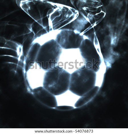 abstract football soccer ball in the smoke - stock photo