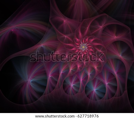 Abstract Form & Colors. Fluffy spiral of stars with glowing rays