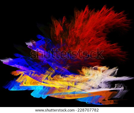 abstract Fractal and black background - stock photo
