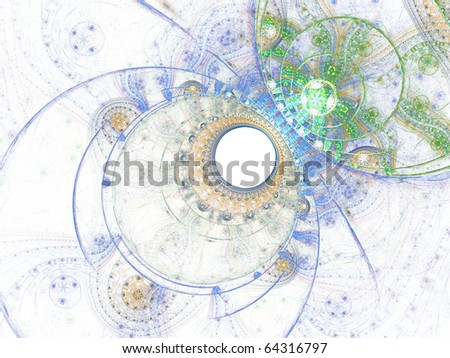 Abstract fractal artwork in blue and green colors