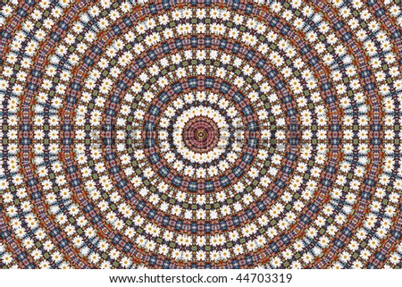Abstract fractal background: beads and daisy - stock photo