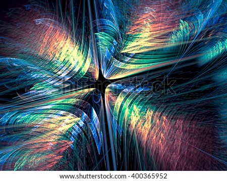 Abstract fractal background - computer-generated image. Chaos glowing shapes like flower. Modern fractal artwork for banners, posters, web-design. - stock photo