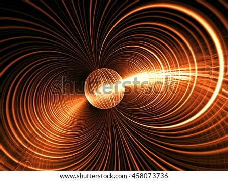 Abstract fractal background - computer-generated image. Digital art: ball and glowing concentric circles. Modern technology backdrop for posters, covers, web design - stock photo