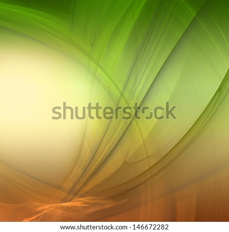 Abstract fractal background in green yellow orange  colors - stock photo