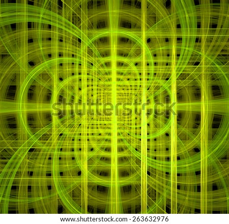 Abstract fractal background made out of glowing interconnected arches and circles behind a grid creating a detailed geometric structure against black color, all in high resolution and in yellow,green - stock photo