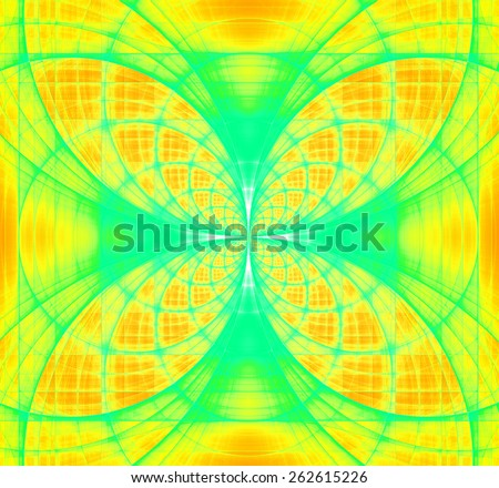 Abstract fractal background made out of vivid interconnected arches and circles creating a detailed flower-like geometric cross, all in high resolution and in yellow,green,cyan - stock photo