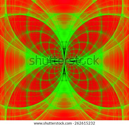 Abstract fractal background made out of vivid interconnected arches and circles creating a detailed flower-like geometric cross, all in high resolution and in red and green - stock photo