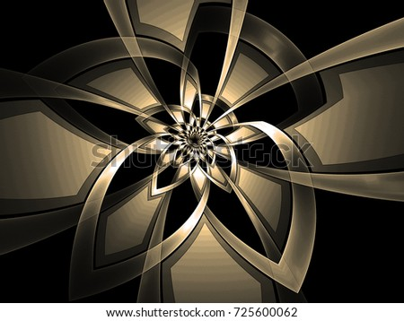 Abstract fractal background Metallic flower made of ribbons on black  computer image. Beautiful background for wallpaper, album, poster, booklet. Fractal digital graphics for creative graphic design.