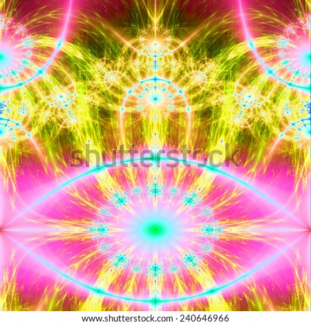 Abstract fractal background mildly resembling a face in glowing bright yellow,pink,teal