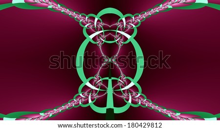 Abstract fractal background with a detailed chain pattern that interconnects in the middle in high resolution in dark pink and light green colors - stock photo