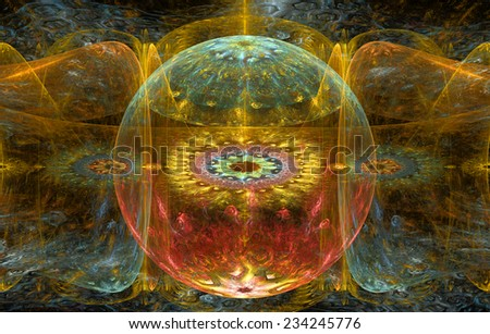 Abstract fractal background with a detailed decorative ball in the center surrounded and decorated by star/flower-like pattern and hexagonal discs, all in yellow,red,cyan - stock photo