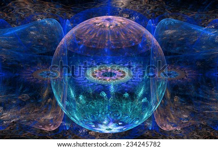 Abstract fractal background with a detailed decorative ball in the center surrounded and decorated by star/flower-like pattern and hexagonal discs, all in blue,cyan and pink - stock photo