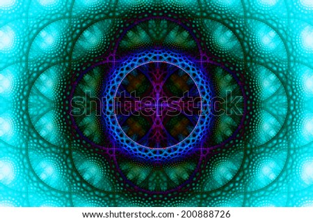 Abstract fractal background with a detailed decorative flower of life pattern in high resolution in shadowy blue, pink and cyan colors against white color - stock photo