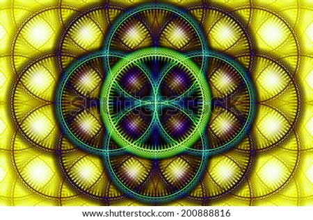 Abstract fractal background with a detailed decorative flower of life pattern in high resolution in yellow, green, cyan and pink colors against white color - stock photo
