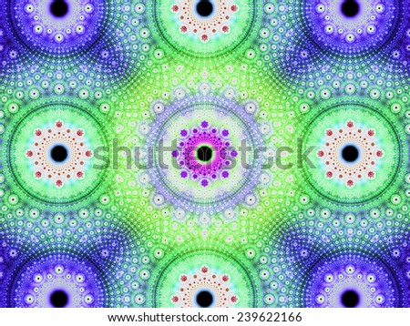 Abstract fractal background with a detailed decorative flower pattern with vortex like infinite decoration in high resolution in bright purple,pink,green colors against black color - stock photo