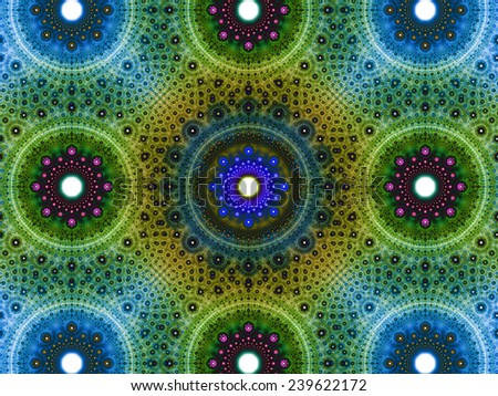 Abstract fractal background with a detailed decorative flower pattern with vortex like infinite decoration in high resolution in dark blue,green,yellow,pink colors against white color - stock photo