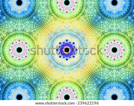 Abstract fractal background with a detailed decorative flower pattern with vortex like infinite decoration in high resolution in bright blue,green,yellow,pink colors against black color - stock photo