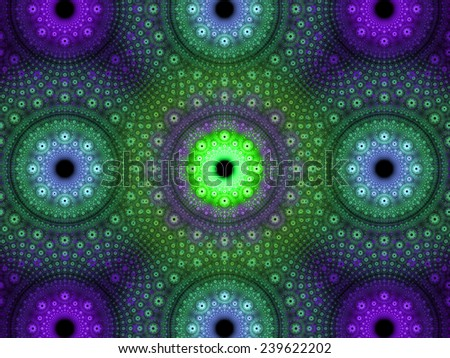 Abstract fractal background with a detailed decorative flower pattern with vortex like infinite decoration in high resolution in cyan,green,pink colors against black color - stock photo