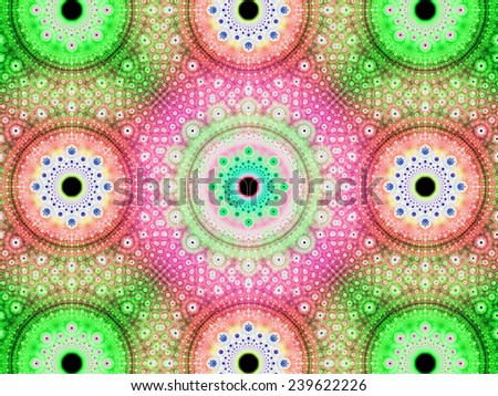 Abstract fractal background with a detailed decorative flower pattern with vortex like infinite decoration in high resolution in bright green,red,pink,cyan colors against black color - stock photo