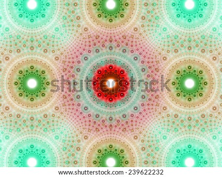 Abstract fractal background with a detailed decorative flower pattern with vortex like infinite decoration in high resolution in light green,red,cyan colors against white color - stock photo