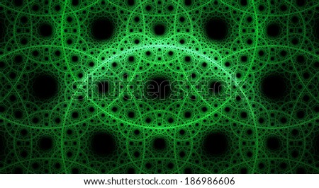 Abstract fractal background with a detailed pattern consisting out of interconnected rings and circles in green color against black background - stock photo