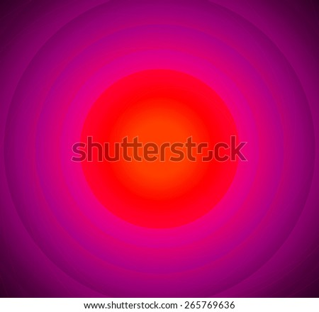 Abstract fractal background with a pattern of large rings and glowing central disc, in high resolution and in vivid red and pink - stock photo