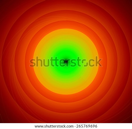 Abstract fractal background with a pattern of large rings and glowing central disc, in high resolution and in vivid green,yellow,red - stock photo