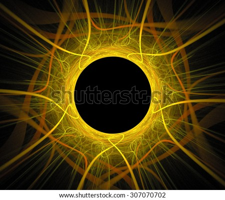 Abstract fractal background with maya sun eclipse or black hole texture, of yellow and orange color - stock photo
